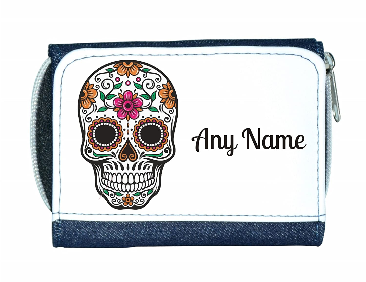 Personalised Denim Purse With Candy Skull By Mayzie Designs/®
