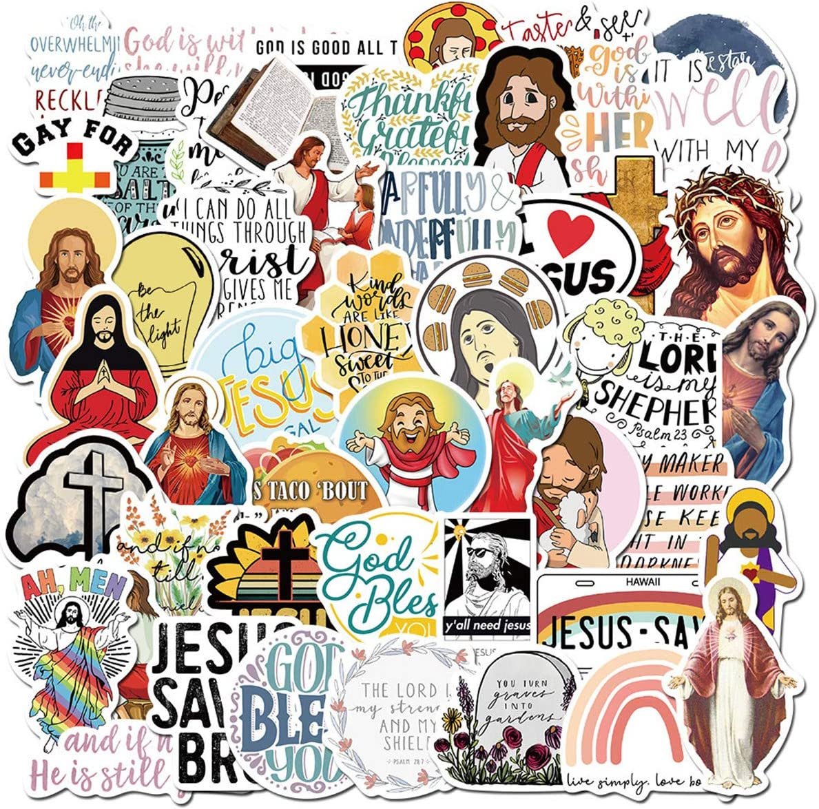 Christian Jesus Stickers, Waterproof Laptop Stickers, Vinyl Christianization Stickers, Water Bottle Bike Bumper Luggage Skateboard Graffiti, Best Gift for Kids,Children,Teen (Jesus)