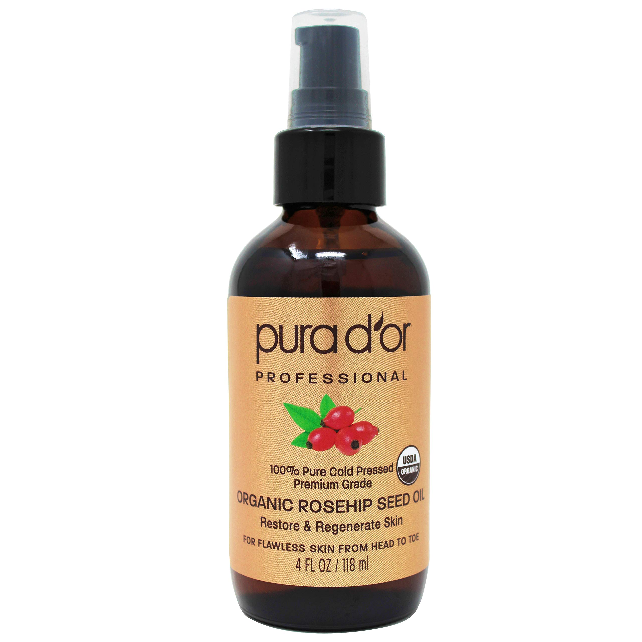 PURA D'OR Organic Rosehip Seed Oil (4oz / 118mL) 100% Pure Cold Pressed USDA Certified Organic, All Natural Anti-Aging Moisturizer Treatment for Face, Hair, Skin, Nails, Men-Women (Packaging may vary)
