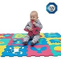 Puzzlematte für Babys und Kinder   12 Schaumstoffplatten mit Tieren in Einer Aufbewahrungstasche   +20% dickere, weichere Spielmatte   schadstofffrei, Nicht giftig, TÜV geprüft   1 Jahr Garantie