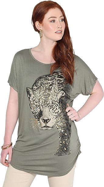KRISP Camiseta Mujer Blusa Leopardo Top Brillante Camisa Casual Tallas Grandes: Amazon.es: Ropa y accesorios