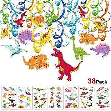 Howaf Dinosaurios Cumpleaños Colgar Decoraciones de Remolino Adornos de espirales (30Piezas) y Dinosaurios Tatuajes temporales para Infantiles Niños ...