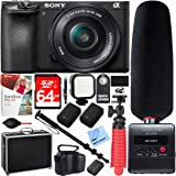 Sony ILCE-6500 a6500 Mirrorless Camera with 16-50mm F3.5-5.6 OSS Power Zoom Lens And Tascam DR-10SG Recorder with Microphone Plus 64GB Triple Battery Bundle