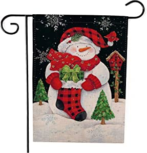 Zyyfly Snowman Garden Flag Christmas Winter Small Burlap 12x18 Double Sided Outdoor Yard Flag Seasonal Holiday Decorative Outside House Flags