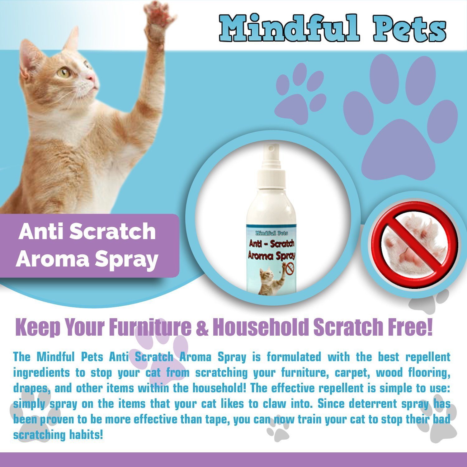 ... Amazon Cat Scratch Deter Spray Natural Training Solution To Effectively  Stop Cats From Scratching Furniture And ...