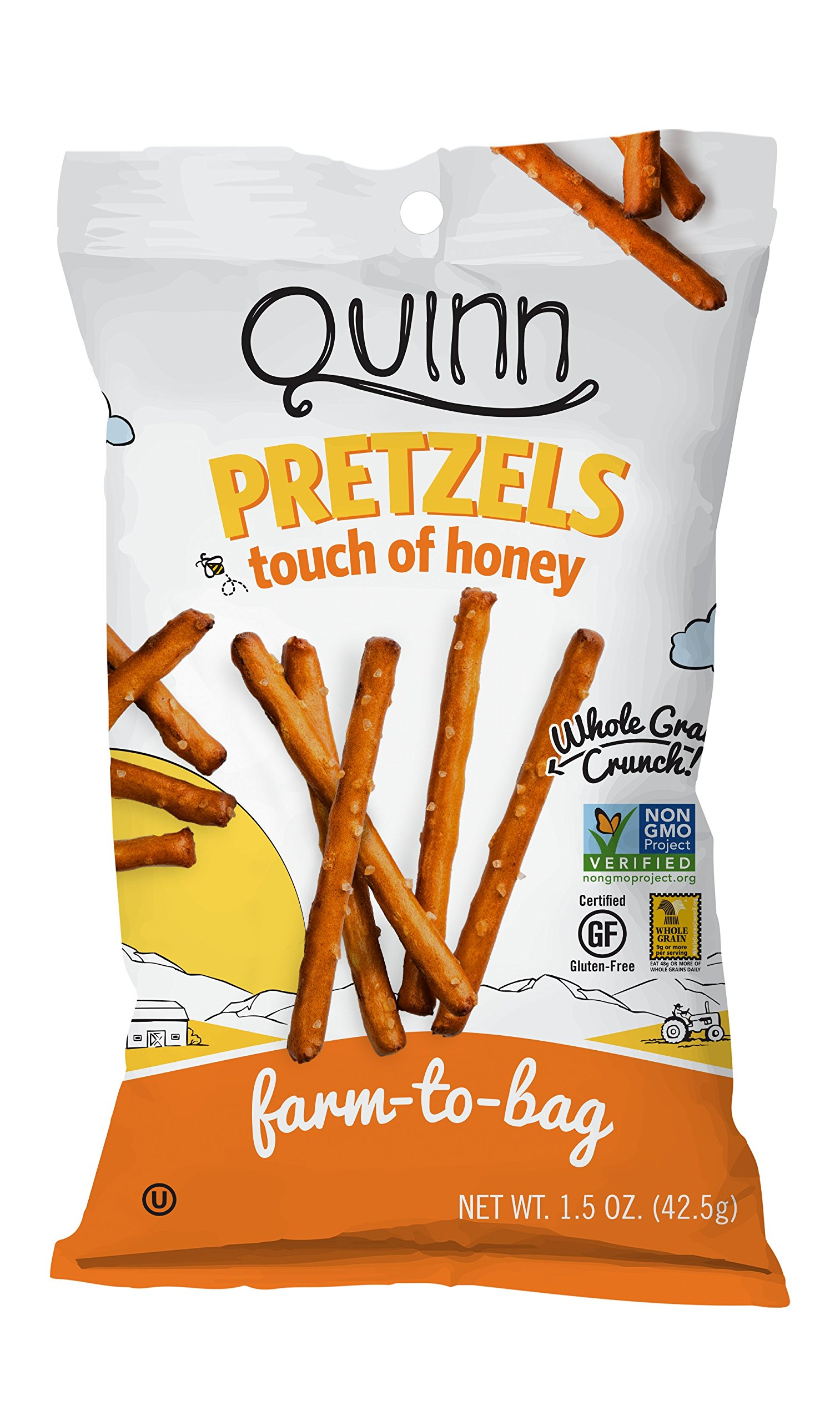 Quinn Pretzel Snack Bags (36 pack) Whole Grain, Gluten Free and Non-GMO - Honey 1.5oz bags by Quinn Snacks