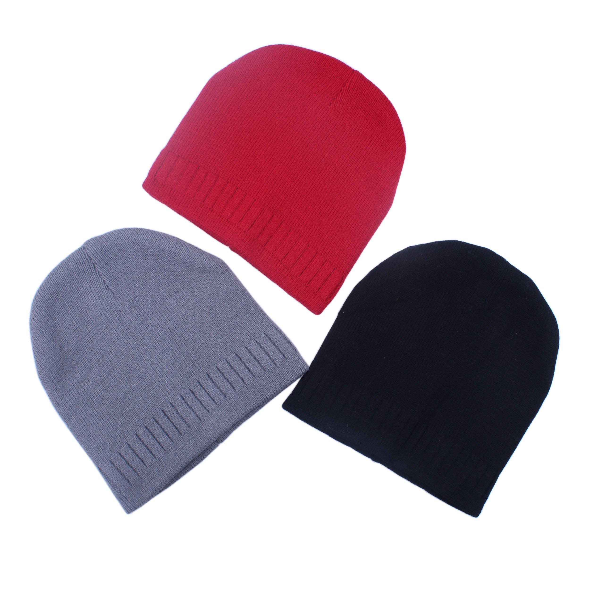 3pcs Toddler Kids Boy Winter Warm Beanies Crochet Knit Hat Cap (Grey Black Red, 4 To 10 Years) by kimmyku (Image #2)