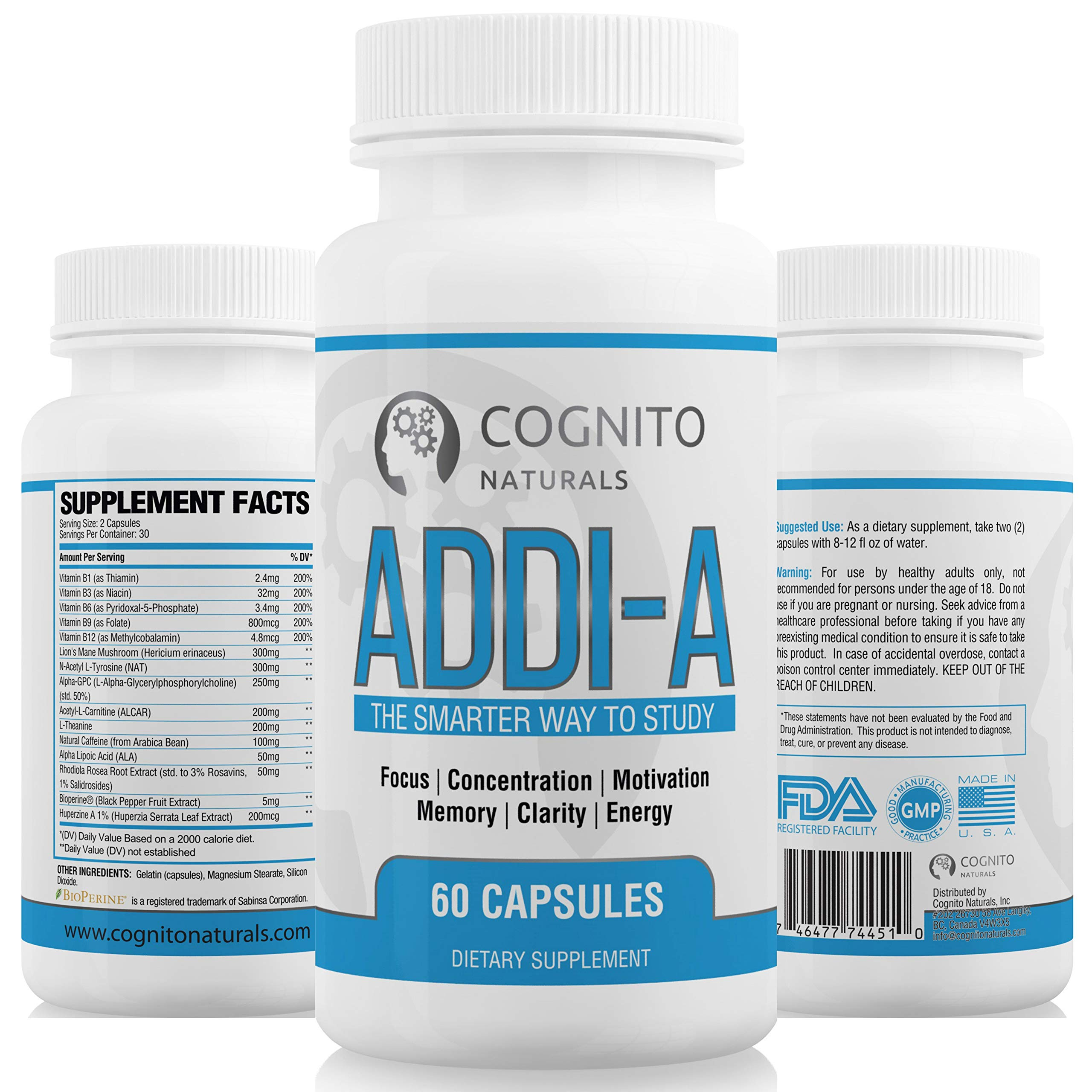 ADDI-A Adderall Style Supplement for Studying & Working | #1 Brain Booster for College Students & Professionals | Super Focus + Energy, Clarity & Motivation Nootropics | Premium Nootropic Supplement by Cognito Naturals