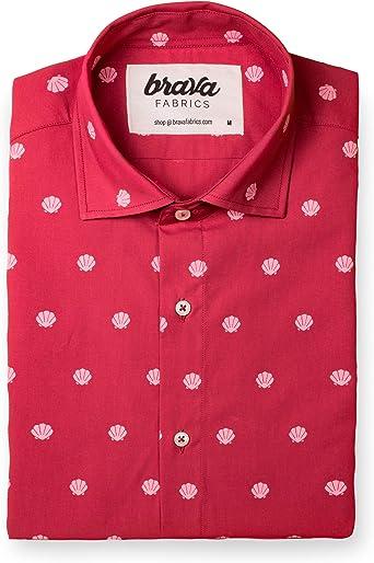Brava Fabrics | Camisa Hombre Manga Corta Estampada | Camisa Roja para Hombre | Camisa Casual Regular Fit | 100% Algodón | Modelo Memories from Holidays | Talla XL: Amazon.es: Ropa y accesorios