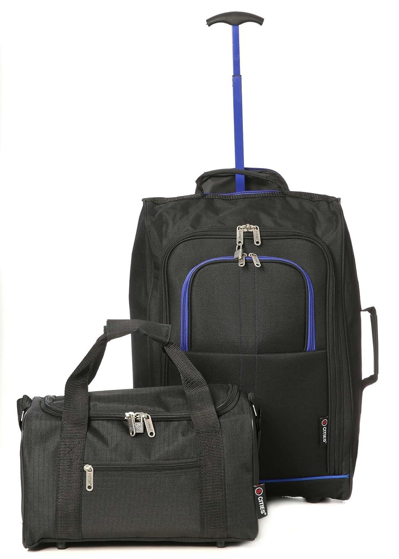 Ryanair Handgepäck 35x20x20 & aufgegebenes Gepäck 55x40x20cm Set - Nehmen Sie Beide mit! (Blau/Schwarz)
