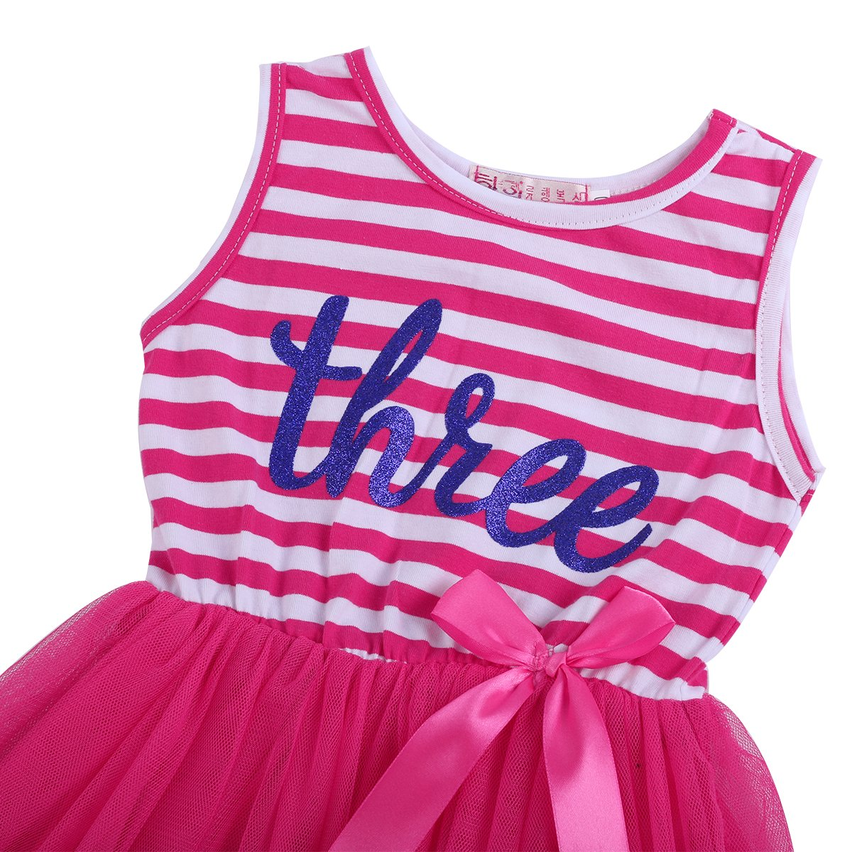 FYMNSI Infant Baby Girls Toddler Kids 1st 2nd 3rd Birthday Cake Smash Dress Princess Sleeveless Gold Glitter Crown Shiny Printed Striped Tulle Tutu Summer Dress with Bow Party Skirt Outfit Clothes