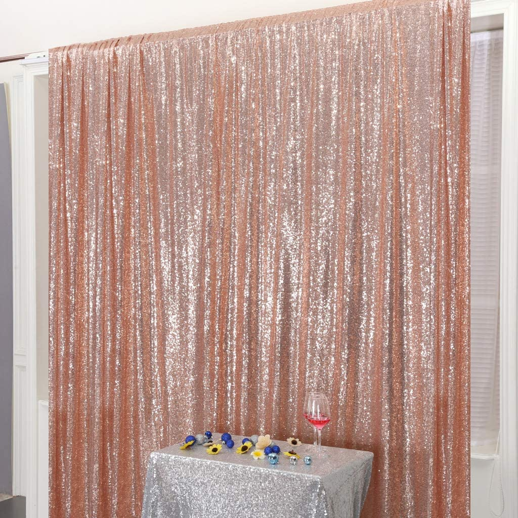 Juya Delight 6ft x 8ft Rose Gold Sequin Photography Backdrop Curtain for Wedding Party Decoration Festival Ceremony
