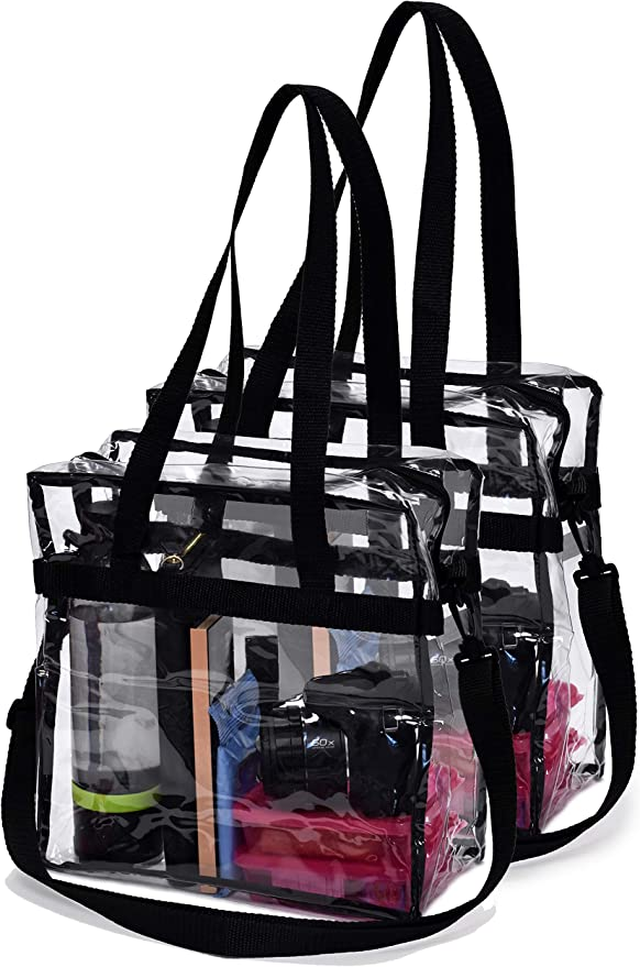 Sports Games and Concerts-12 x12 x6 ZHENPIN Magicbag Clear Tote Bag Stadium Approved,Adjustable Shoulder Strap and Zippered Top,Stadium Security Travel /& Gym Clear Bag Perfect for Work School