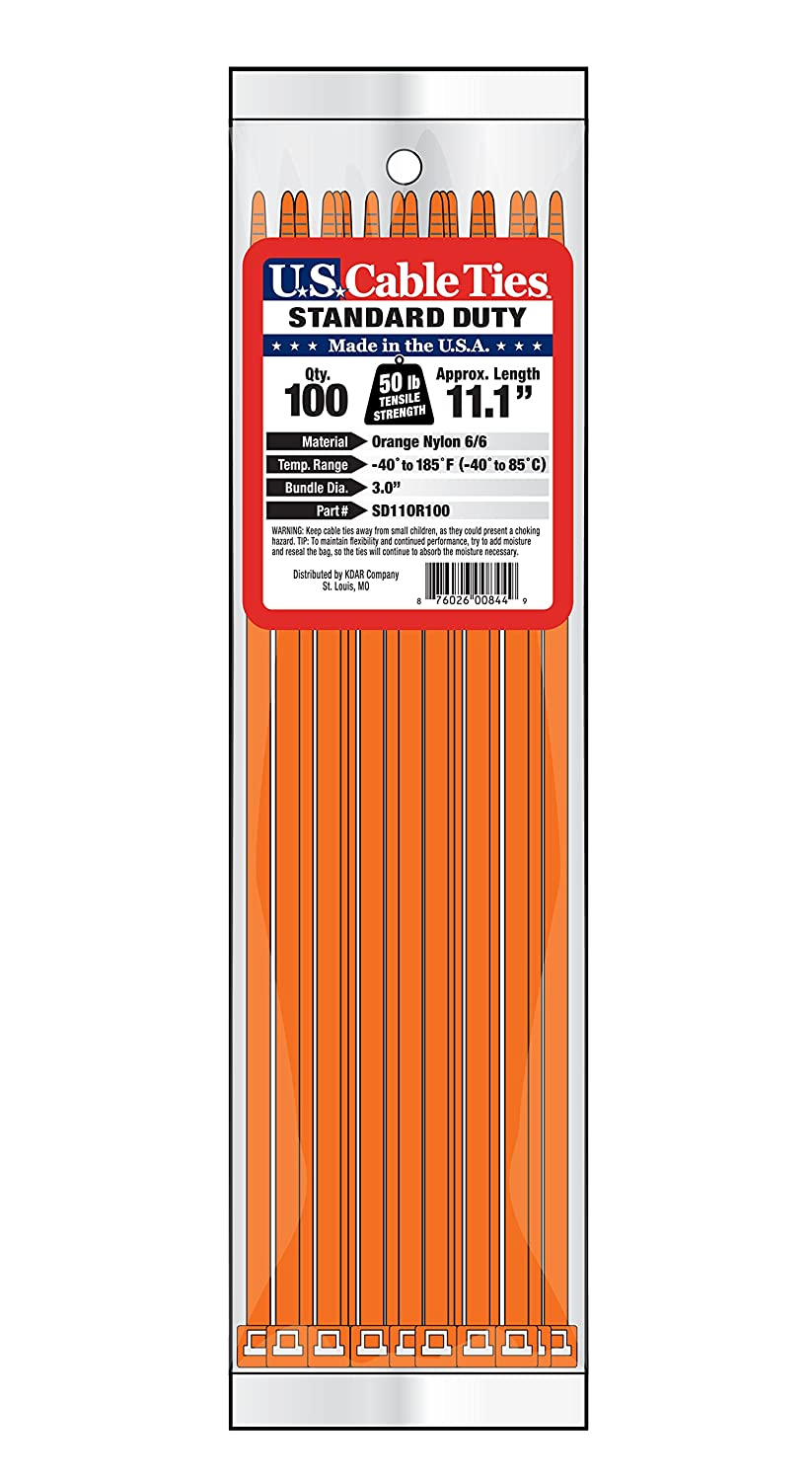 US Cable Ties SD11AC100 11-Inch Assorted Color Standard Duty Cable Ties, 100-Pack