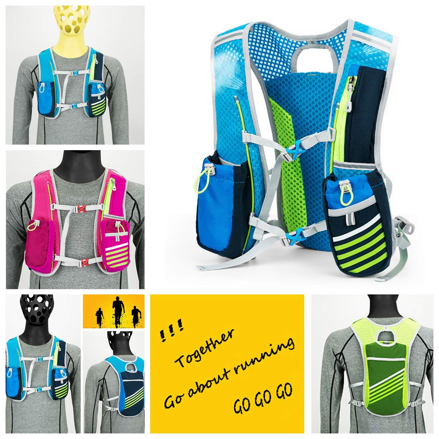 TZZ Sports Water Bag Backpack 5.5L 6 Pocket Running Hiking Backpack Trail Marathon Sports Racing Lightweight Hydrating Vest by TZZ (Image #4)