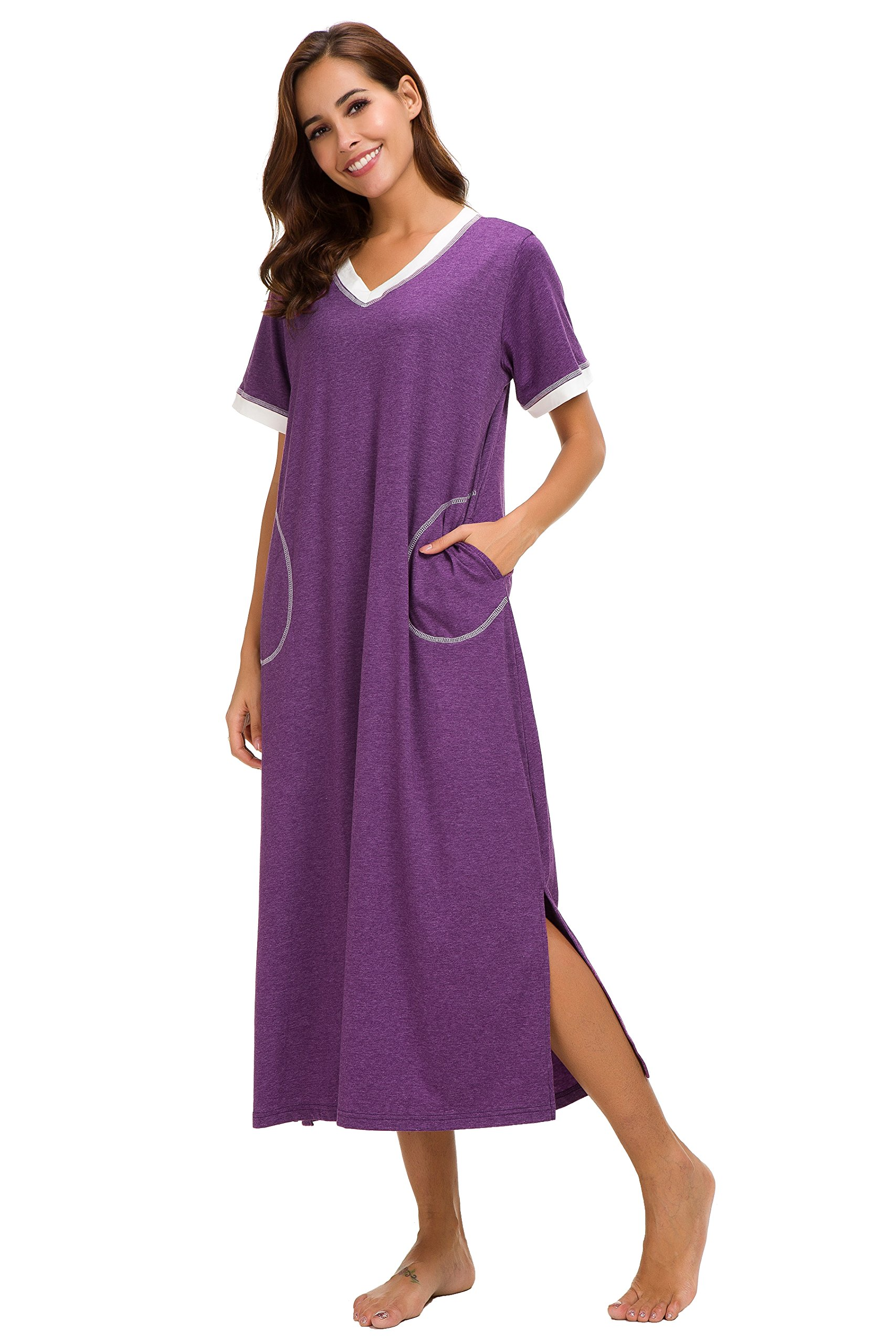 Supermamas Long Nightgown Womens Cotton Knit Short Sleeve Nightshirt with Pockets S-XXL (Eggplant, XL)