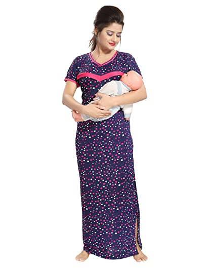 TUCUTE Women s Beautiful Dott s Print Feeding Maternity Nursing Nighty  Nightwear. (Navy b05bc749e