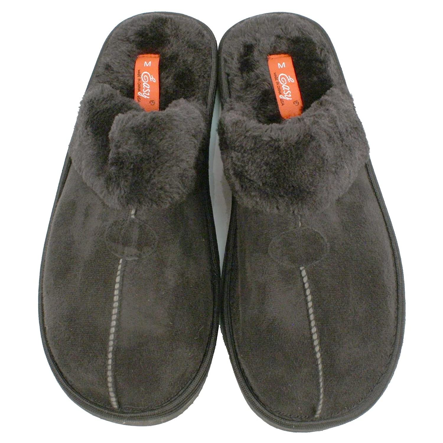 Mens Bedroom Slippers Leather Amazoncom Mens House Closed Front Slippers With Fur Black