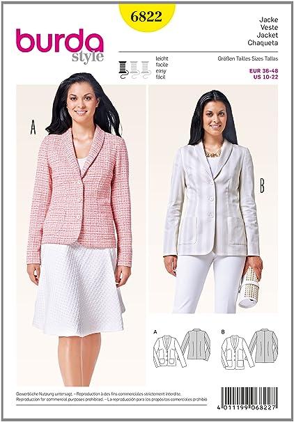 Burda Easy Ladies Smart Suit Jackets Sewing Pattern 6822