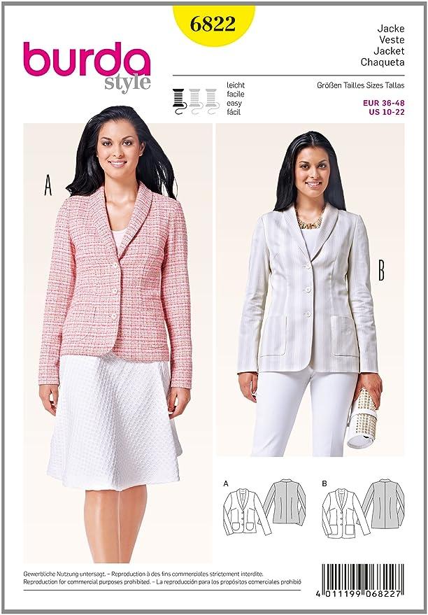 Burda Easy Ladies Smart Suit Jackets Sewing Pattern 6822: Amazon.co ...