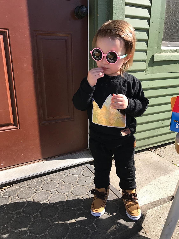 TIJN Kids Toddler Flexiable Rubber Polarized Round Sunglasses for Girl Boys