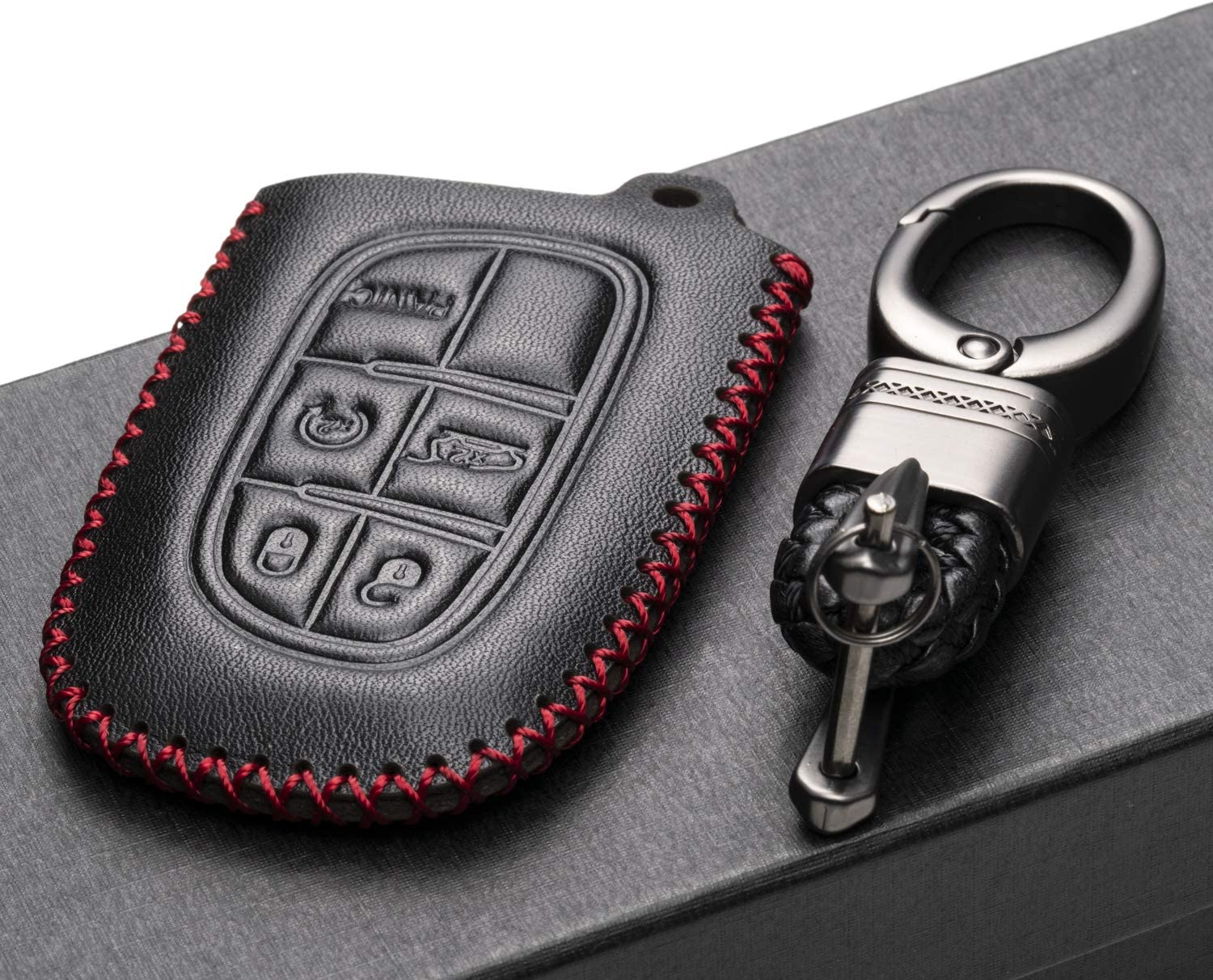 2013-2017 Ram 1500 2500 5 Buttons, Black 3500 Vitodeco Genuine Leather Smart Key Fob Case Cover Protector for 2014-2018 Jeep Cherokee