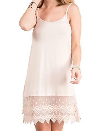 c25a0ef445e Fashionomics Womens LACE Trim Solid Slip Extender with Adjustable Strap (S,  Beige)