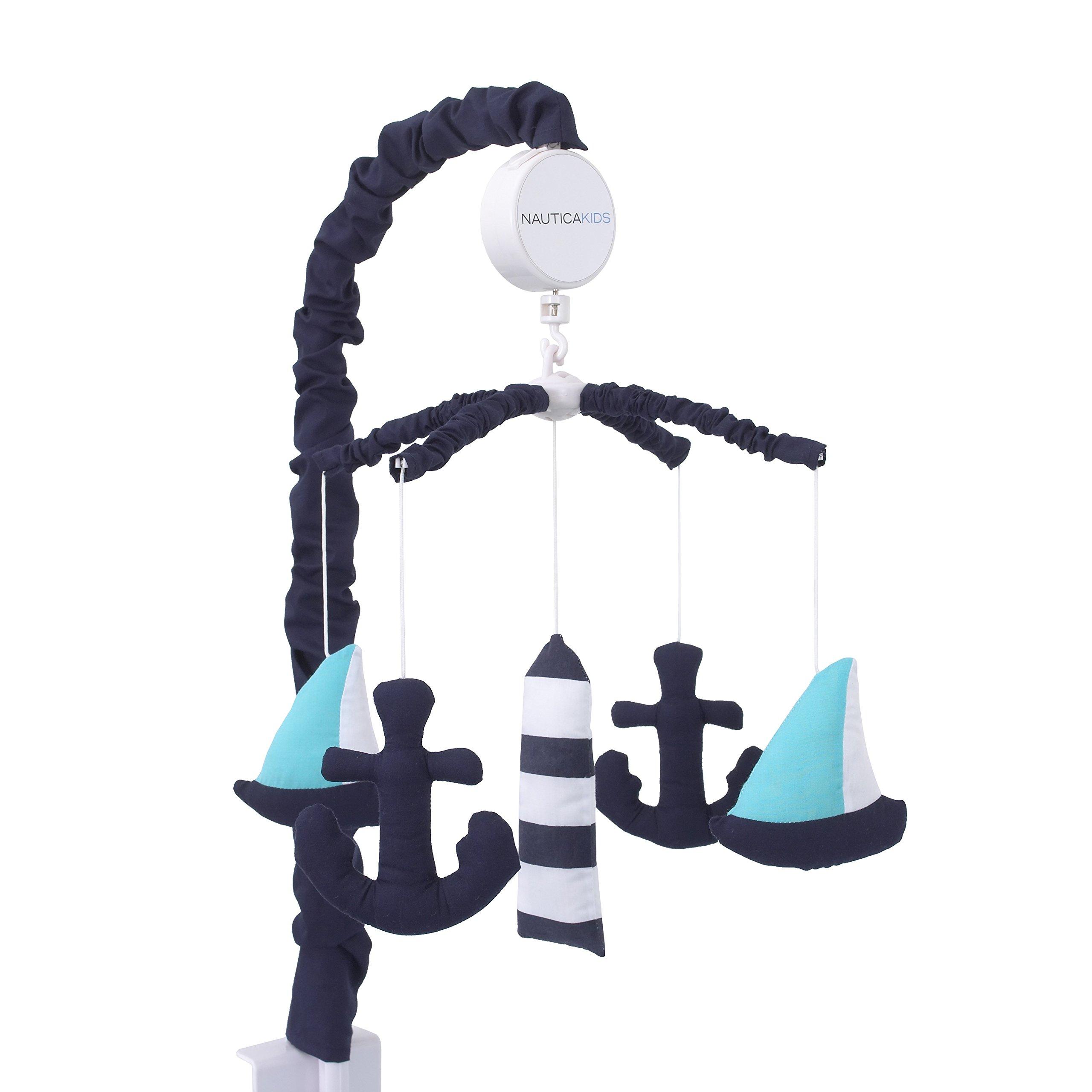 Nautica Kids Set Sail Nautical/Anchor Crib Nursery Musical Mobile, Navy, Aqua, White