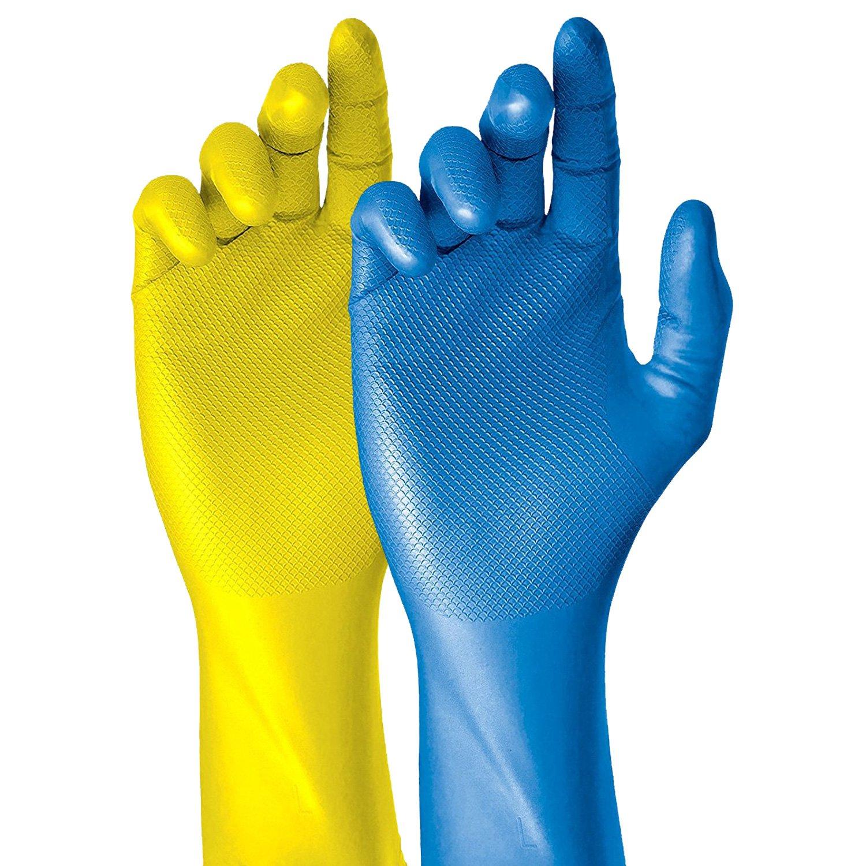 Grippaz Guantes de nitrilo 30 cm de largo (50 unidades) | S –  XXL Guantes de trabajo sin lá tex, ideal para medicina, quí mica, contacto con alimentos | guantes de goma con relieve de escamas patentado | G