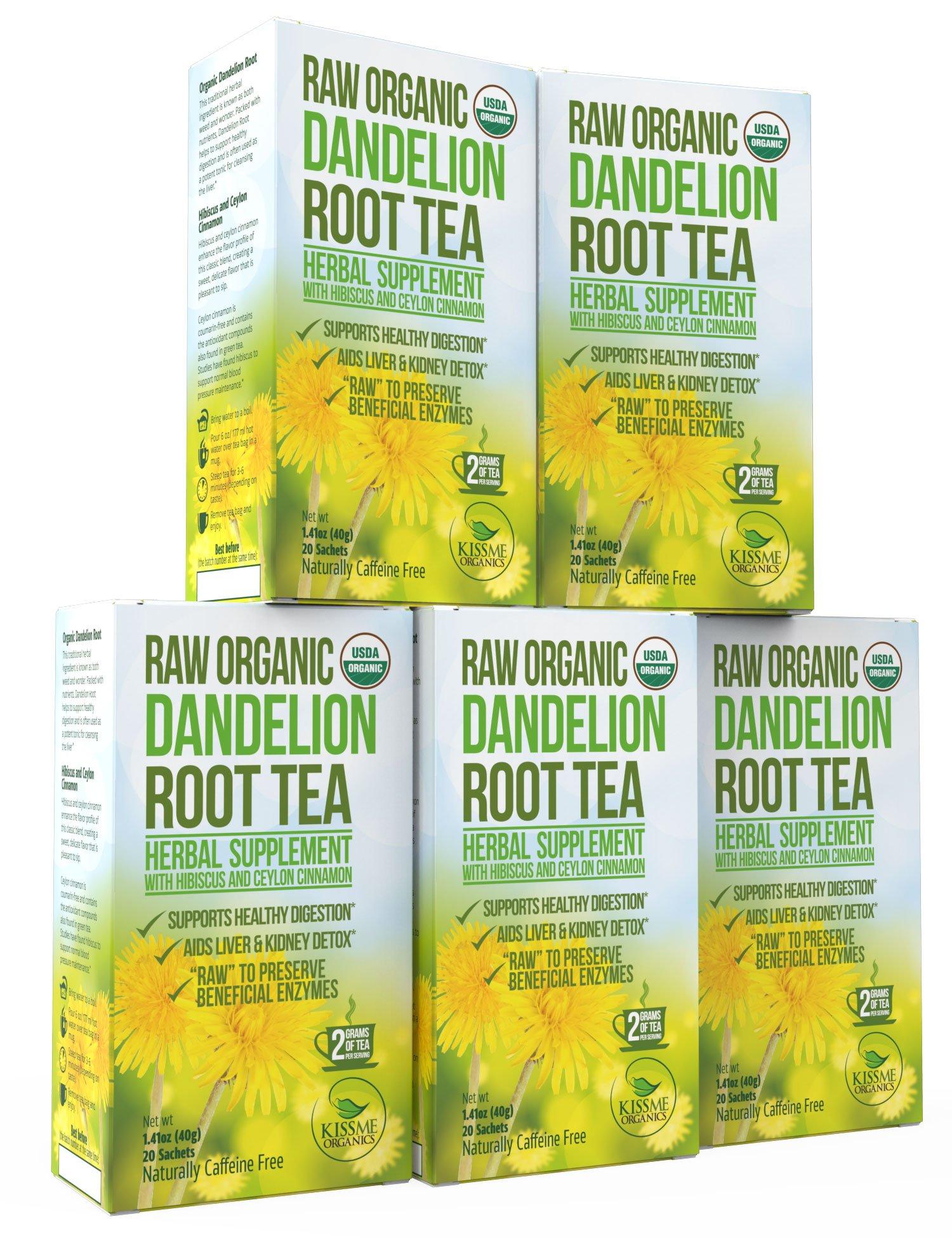 Dandelion Root Tea - Raw Organic Vitamin Rich Digestive - 5 Pack (100 Bags, 2g Each) - Detox Tea - Helps Improve Digestion and Immune System - Anti-inflammatory and Antioxidant - By Kiss Me Organics