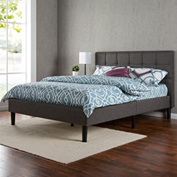 Canadas Best Mattress Upholstered Square Stitched Platform Bed With