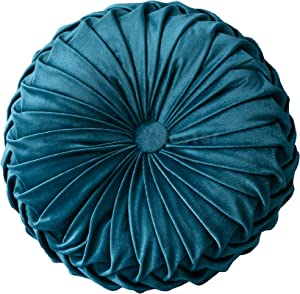 YNester Round Cushions Pillows, Solid Color Velvet Chair Sofa Pumpkin Throw Pillow Pleated Round Pillow for Home Bed Car Decor Floor Pillow Cushion (Blue, 15.7x15.7x4.3inch)