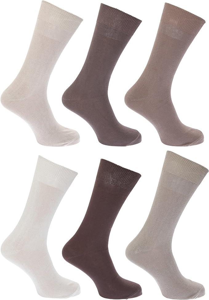 FLOSO - Calcetines lisos 100% algodón para hombre/caballero - Pack ...