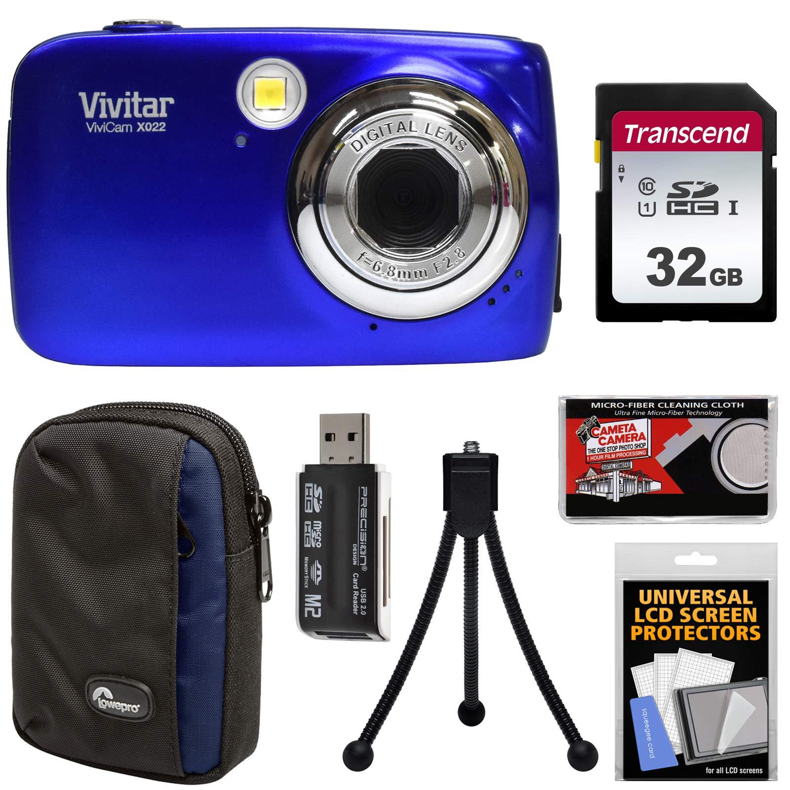 Vivitar ViviCam VX022 Digital Camera (Blue) with 32GB Card + Case + Tripod + Kit by Vivitar