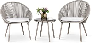 Nuu Garden 3 Piece Rope Patio Set, Outdoor Bistro Table Set with Cushions Ideal for Garfen, Balcony, Deck, Backyard-Grey