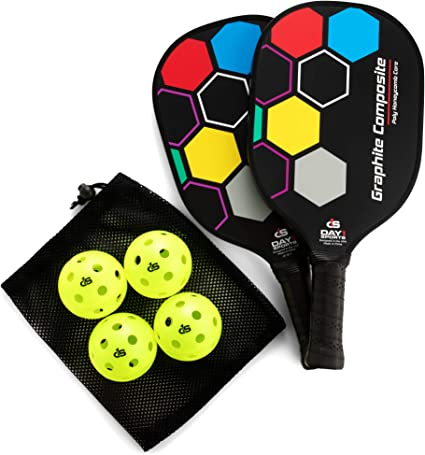 Premium Pickleball Set – 2 Paddle Set with Mesh Carry Bag, 4 Balls by Day 1 Sports - Durable Pickle Ball Paddles with Cushion Comfort Grip and ...