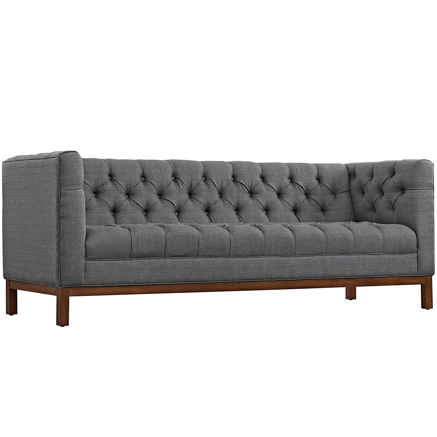 Modway Panache Upholstered Modern Tufted Sofa in Gray