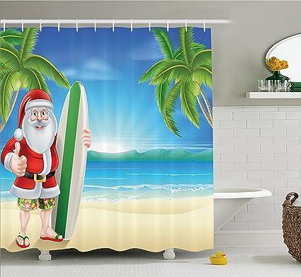 Juego de cortina de ducha de decoración de Navidad Papá Noel con troncos de playa tabla