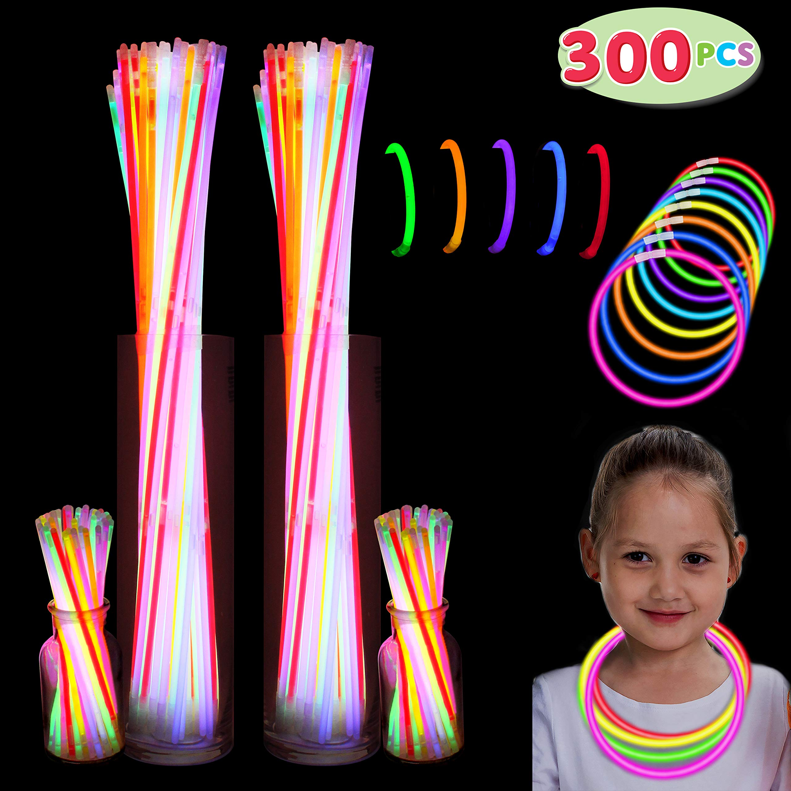 300 Pack Glow Sticks with 100 22'' Necklaces + 200 8'' Bracelets; Connector Included; Glowstick Bundle Party Favors, Glow in the Dark Party Bulk Supplies, Neon Light Up Accessories for Kids and Adults.
