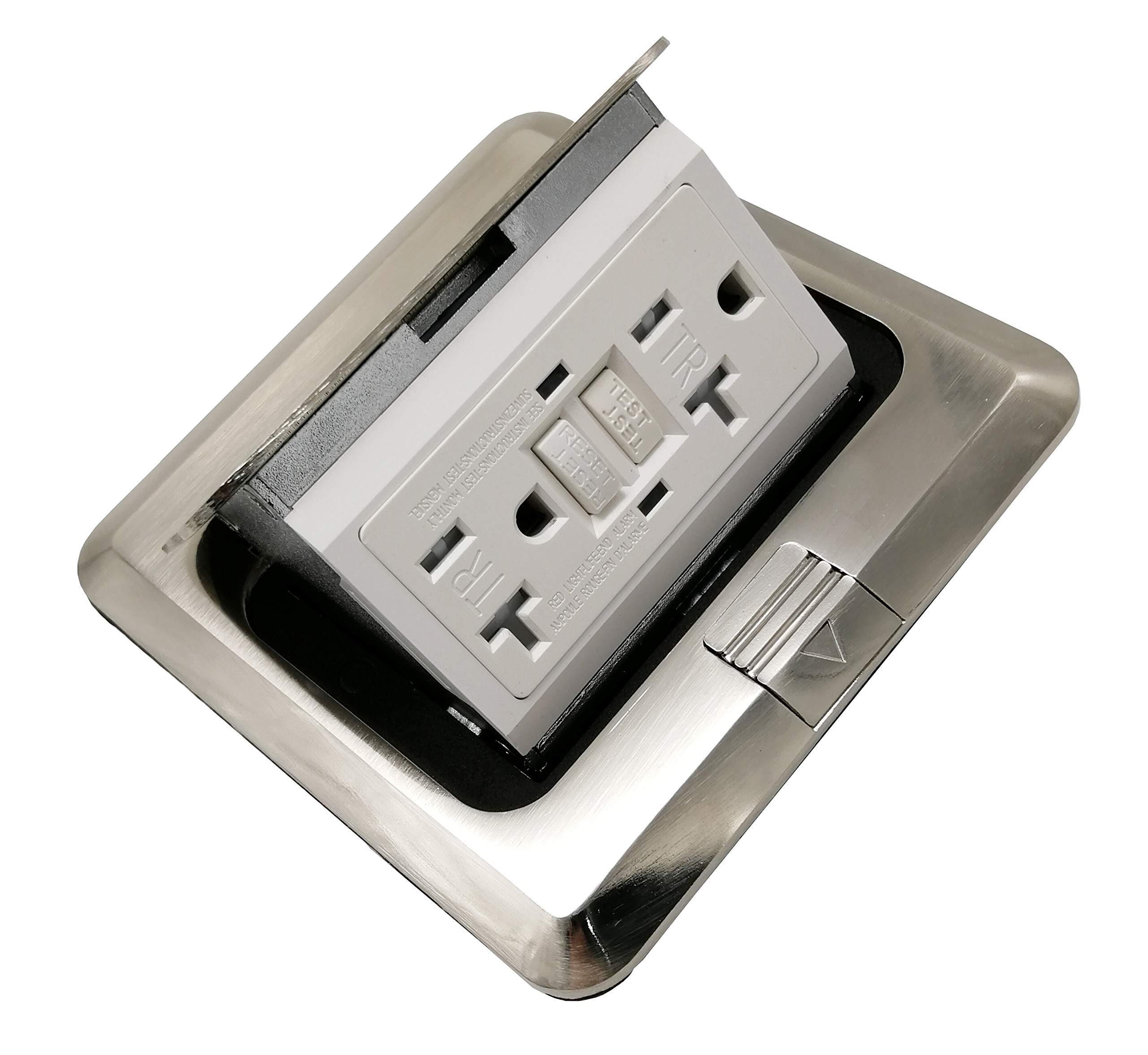 Pop Up Receptacle Floor Outlet Countertop Box With W/20 A GFI Duplex Receptacle, Brass, Nickle Plating