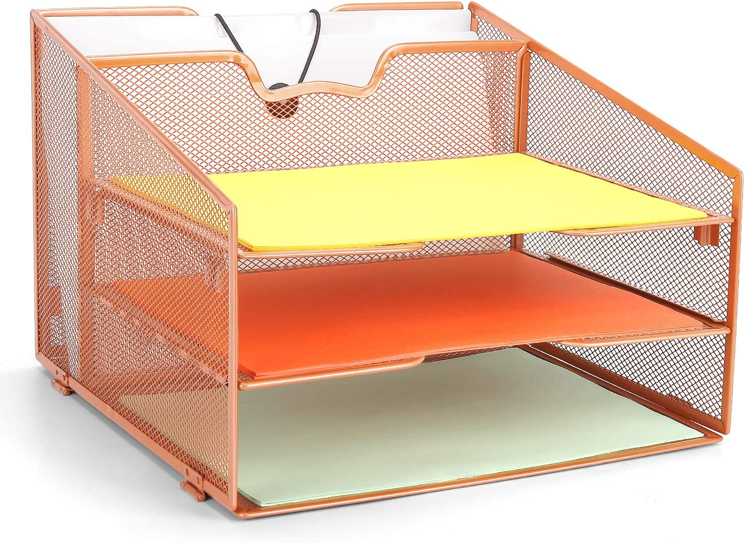 Rose Gold Desk Organizer, ProAid Desktop File Tray Organizer with 4 Independent Compartments, Document Letter Tray Holder Perfect for Office and Home