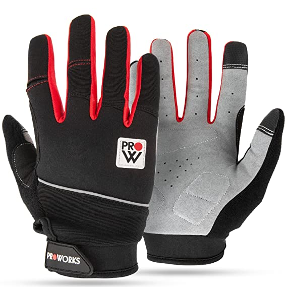 Amazon.com : Proworks Padded Cycling Gloves [Touchscreen Compatible] for Road Bike, Mountain Biking, Racing & BMX - Unisex - Medium - Black & Red : Sports & ...