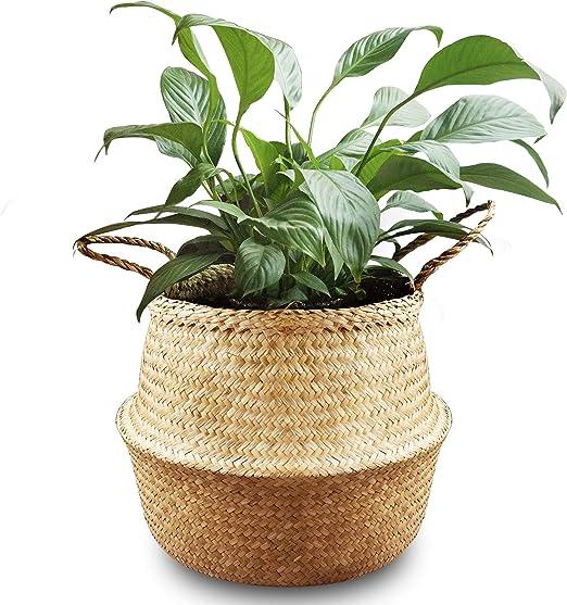 para el Cuarto de ba/ño Beige,Medium Cesta de Mimbre para Almacenamiento de Plantas o cestas de Juguetes BlueMake
