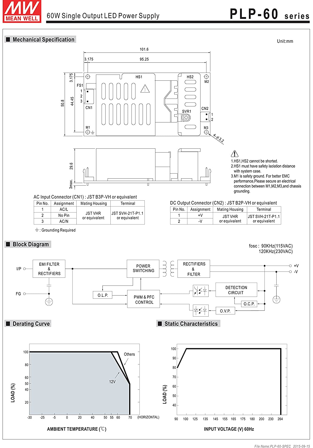 Mw Mean Well Plp 60 48 48v 125a 60w Single Output Led M1 M2 Wiring Diagram Power Supply Home Audio Theater