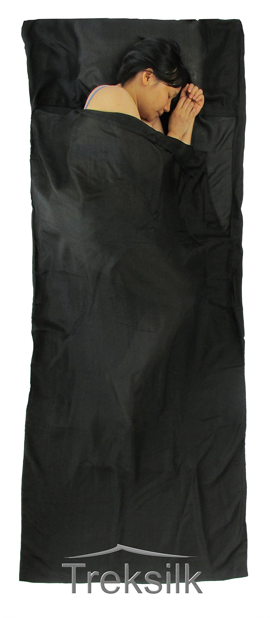 Treksilk: 240 cm! 100% Mulberry Silk Single Sleeping Bag Liner Travel Sheet Sack (Black) by Treksilk
