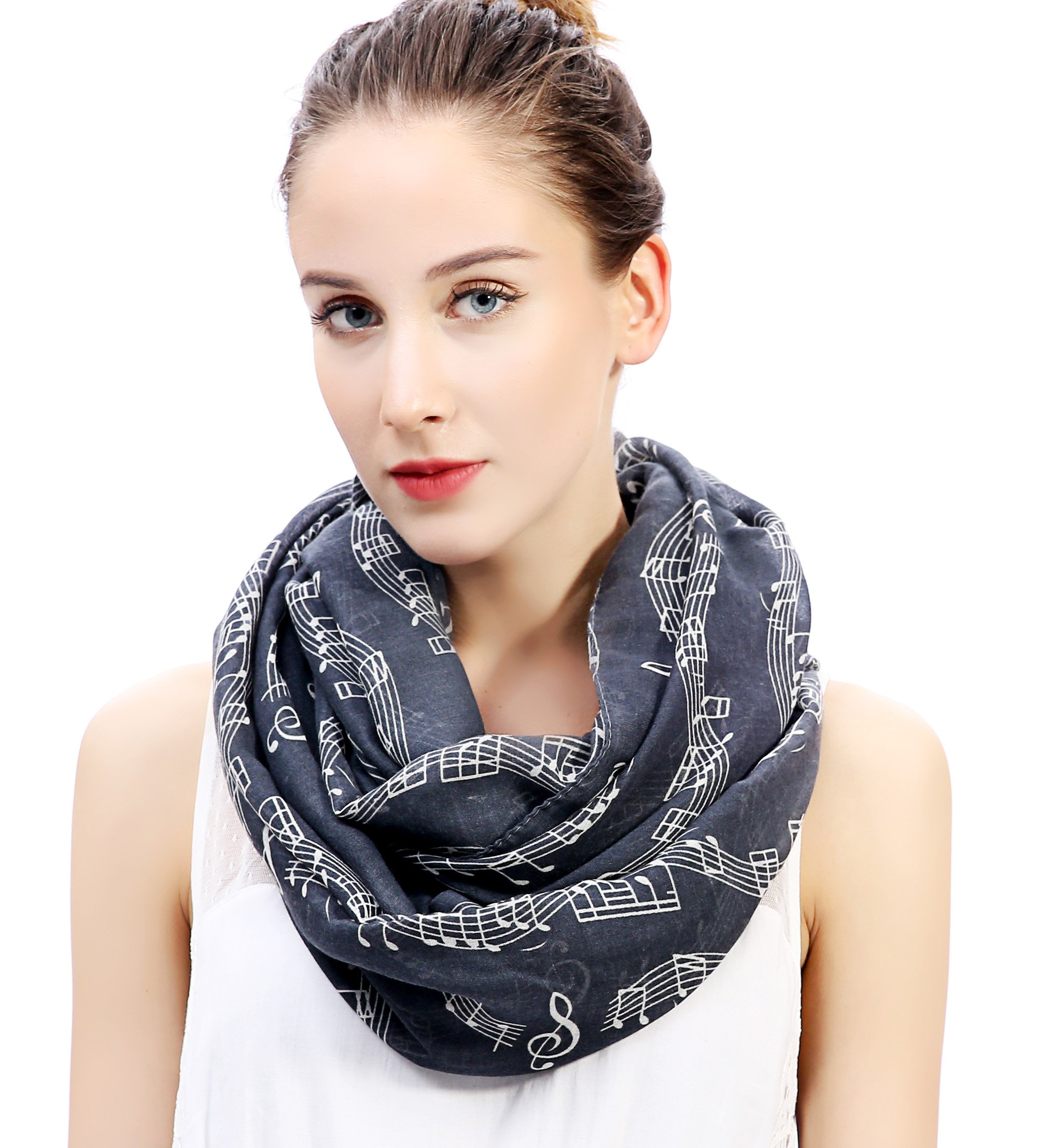 Lina & Lily Women's Musical Notes Print Infinity Loop Scarf (Dark Gray)