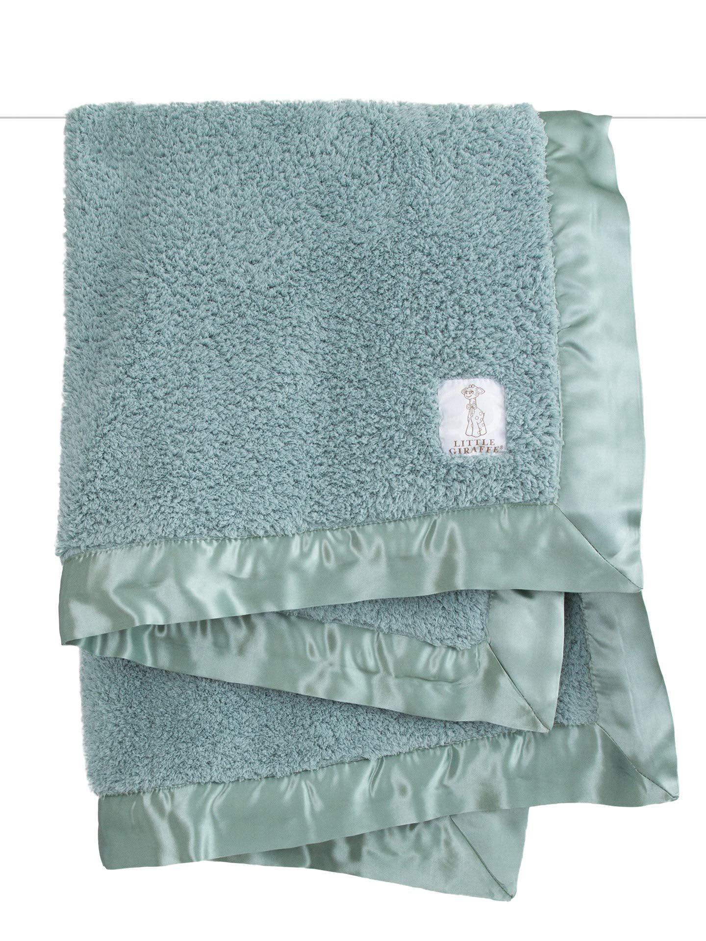 Little Giraffe Chenille Stroller Baby Blanket, Sage, 29 Inch x 35 Inch by Little Giraffe
