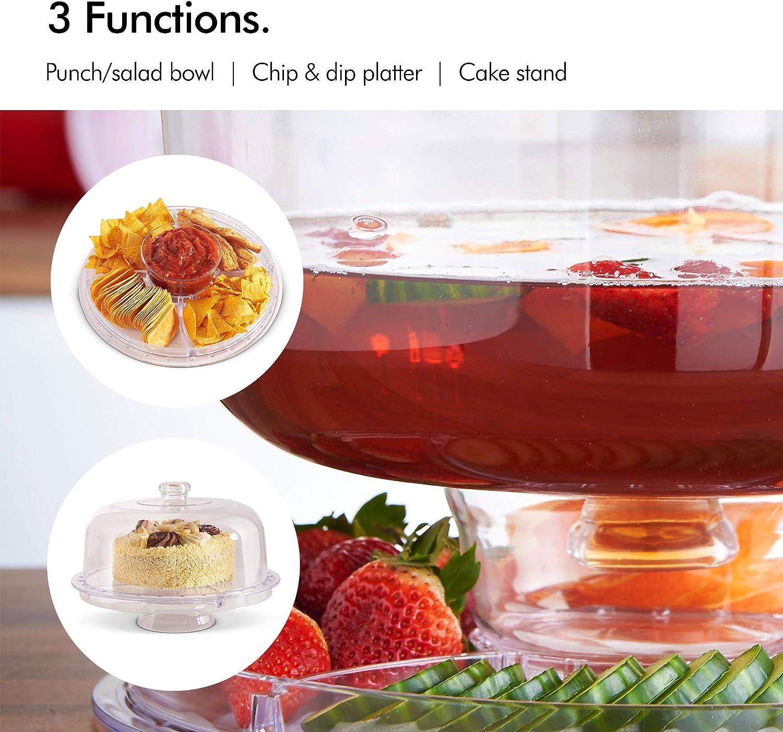 Vonshef - Vonshef Soporte de Pasteles de 30cm Multi-función con tapadera de Domo/Plato para Chips & Dip/tazón para ponche/ensaladera – Ideal para Fiestas: Amazon.es: Hogar