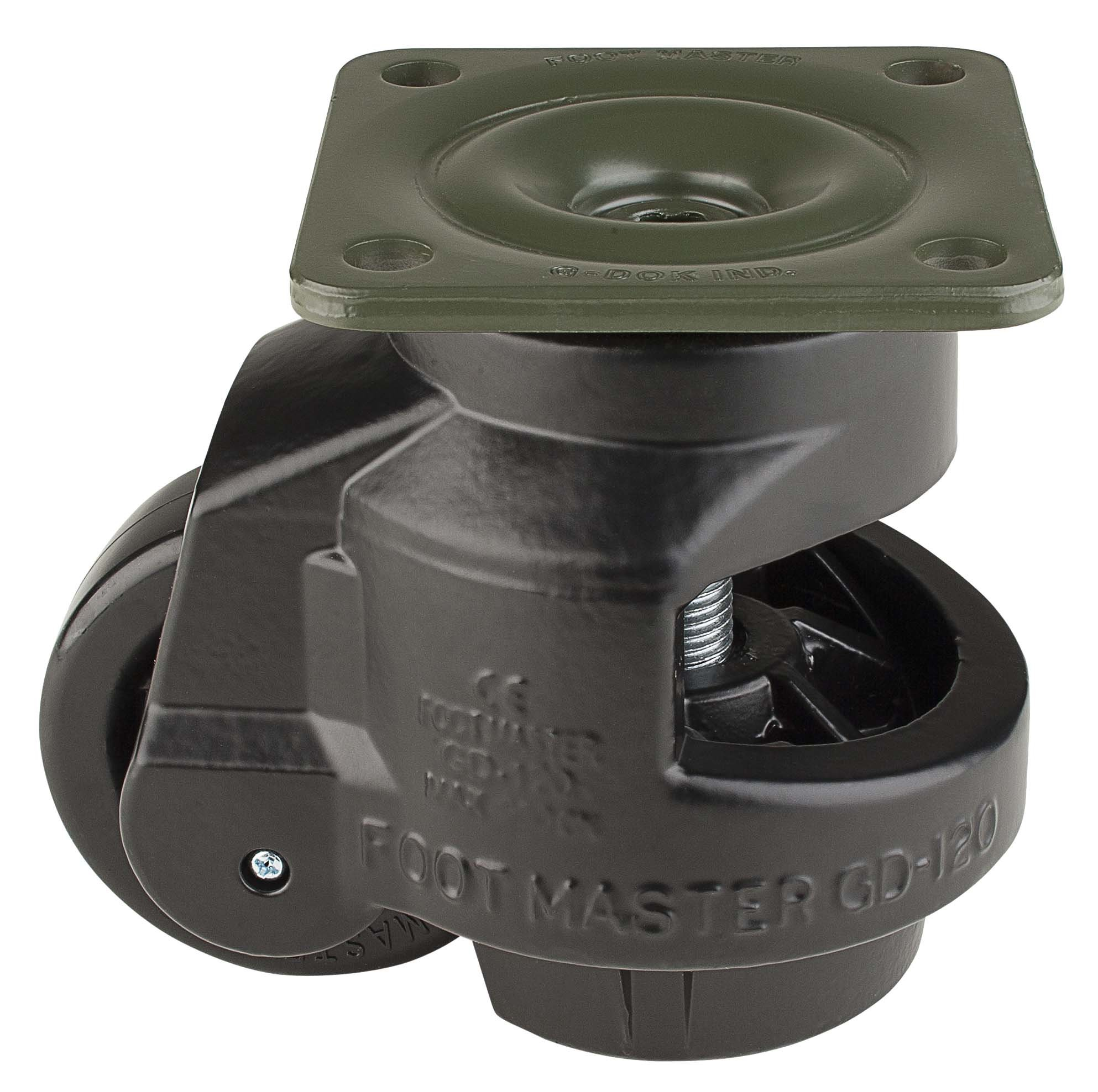 FOOTMASTER GD-120F-BLK Nylon Wheel and Aluminum Pad Leveling Caster, 2200 lbs, Top Plate 3 3/4'' x 3 3/4'', Bolt Holes 2 3/4'' x 2 3/4'', Black Finish