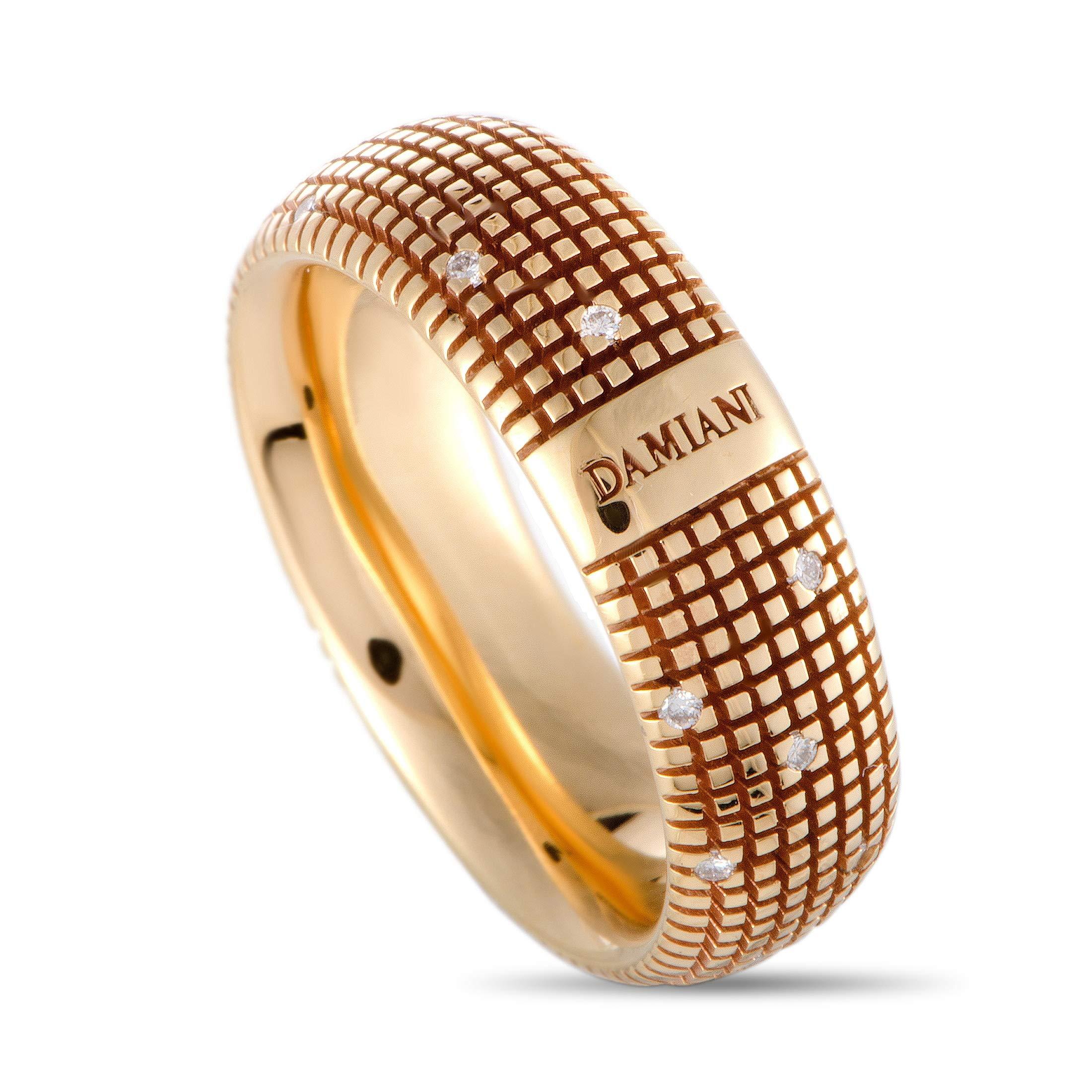 Damiani Metropolitan 18K Rose Gold 18 Diamonds Textured Band Ring